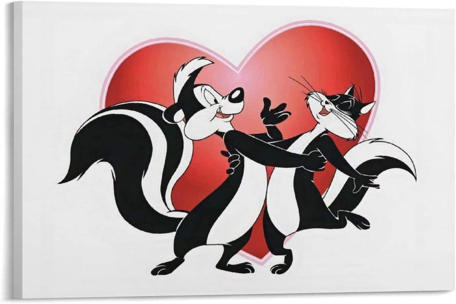 QIUPING Pepe Le Pew with Hearts Poster Artworks Picture Print Poster Wall Art Painting Canvas Gift Decor Home Posters Decorative 12×18inch(30×45cm)