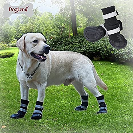 Small 0035 Morezi Dog Shoes Waterproof Dog Boots Anti-slip Snow Boots Warm Paw Protector for Dog in Winter Red