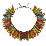 Les Poulettes Bijoux - Collier Flamme en Tagua Multicolore Eté