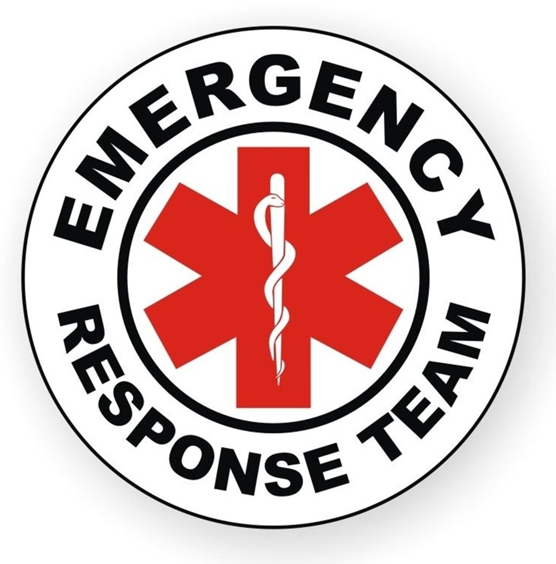 1 Pc Primo Popular Emergency Response Team Vinyl Sticker Signs Safety Stick Hard Hat Label Window Helmet Size 2'' Color White Red Black