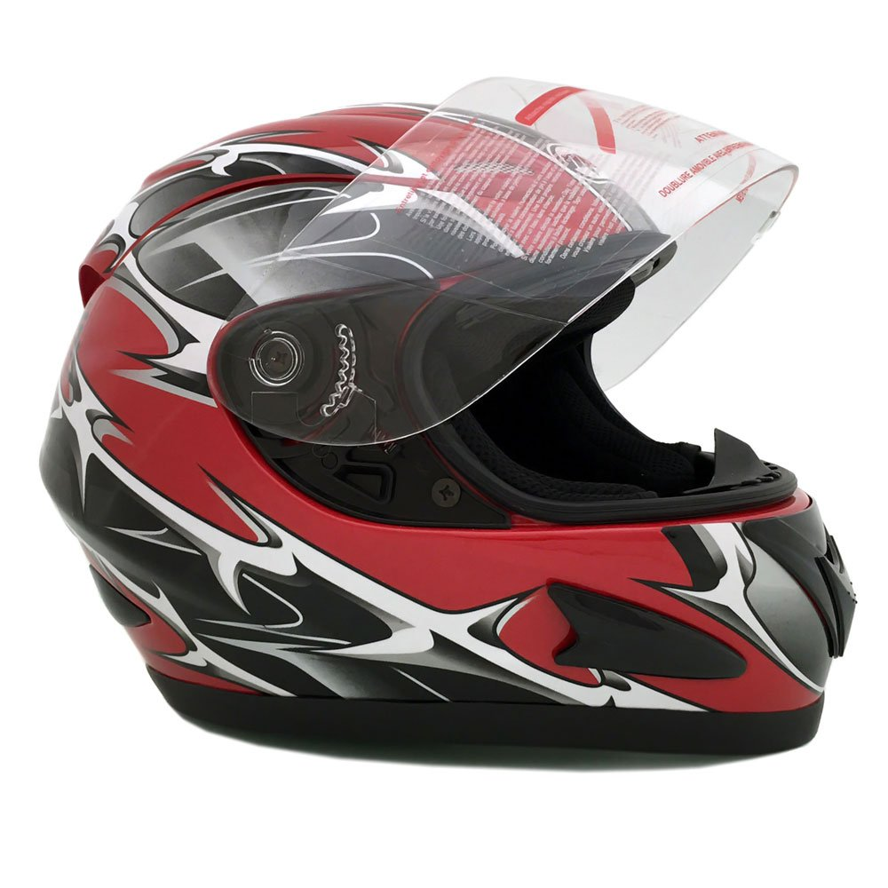 Amazon.com: Motorcycle Full Face Helmet DOT Street Legal +2 Visors Comes with Clear Shield and Free Smoked Shield – Spikes RED 118S (Small): Automotive