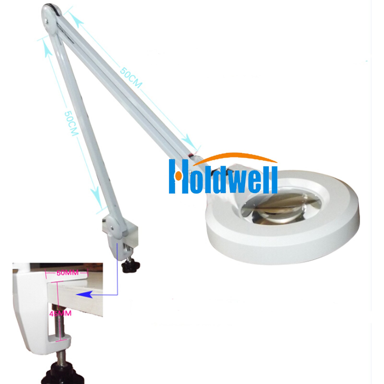 Holdwell White LED Desk Table Clamp Mount Adjustable Arm Magnifier Lamp Light Magnifying Glass Lens Diopter (20X magnification)
