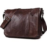 YWY Bolso De Hombre De Cuero Business Messenger Bag Bolso De Hombro De Cuero Vintage,Coffeecolor,34.5 * 11 * 26.5