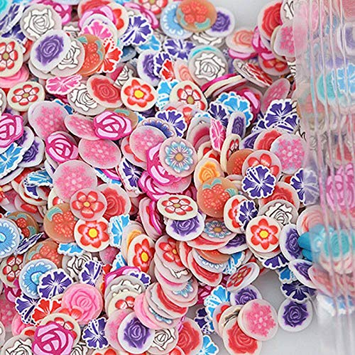 (15 Styles 3D Fimo Nail Art Stickers Decoration Polymer Clay Canes DIY Slices (Shape - Circle Rose))