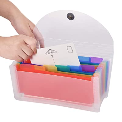 Expanding Portable Hand-Held Accordion File Folder File Organizer Wallet for Cards Coupons Receipt Tax Item or Changes, 10.32X5.31 inches, 13 Pockets: Office Products