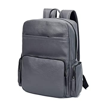 8c6ebf7ff8d7 Image Unavailable. Image not available for. Color  Unisex s Business  Waterproof pu Leather Laptop Backpack Fashion College School Bookbag Travel  Daypack ...