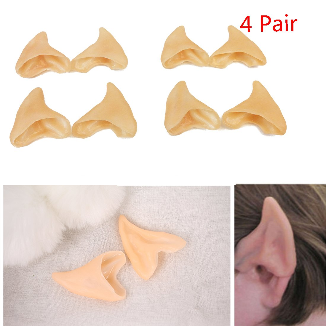 Kbraveo 4 Pair Latex Soft Elf Ear Fake Ears Ear Tips For Any Themed Party