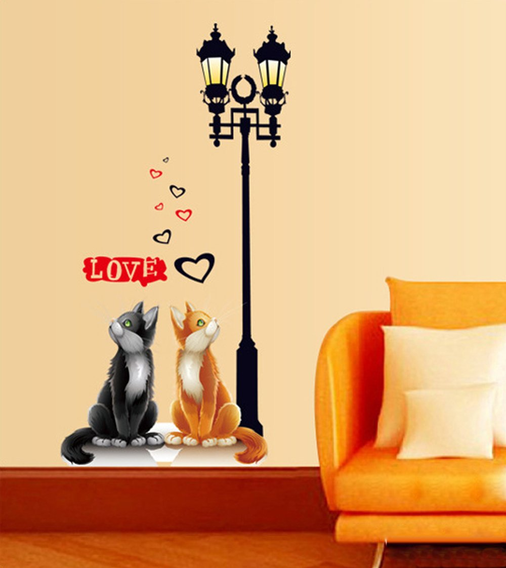 Ufengke® gli amanti romantici gatto sotto i lampioni adesivi ...