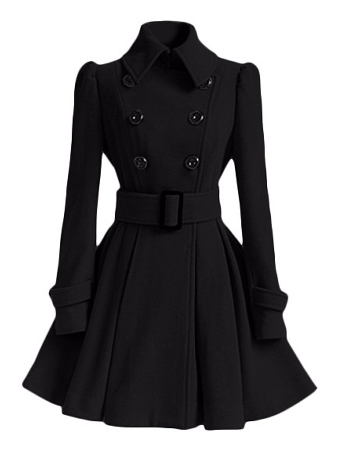 AUSZOSLT Women Swing Double Breasted Pea Coat with Belt Slim Fit Mid-Long Lapel Dress Coat Black S