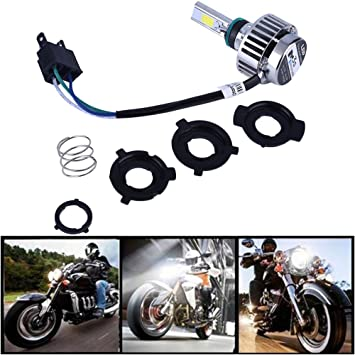 Ralbay motocicleta bombilla LED faro 32w 3000lm H4 de alta baja haz de 360 ° 3-Side faros 6000k blanco: Amazon.es: Coche y moto