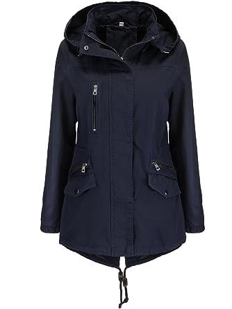 Abrigo ligero de entretiempo tipo gabardina para mujer, corto y con capucha, de algodón 100%: Amazon.es: Ropa y accesorios