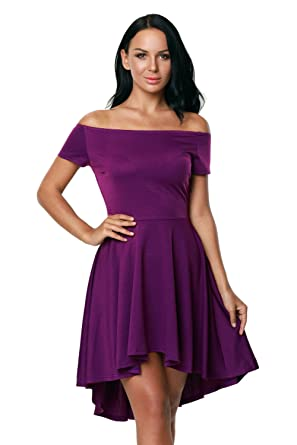 f3e83f4580 Purple Women Off Shoulder Sleeve High Low Skater Dress at Amazon ...