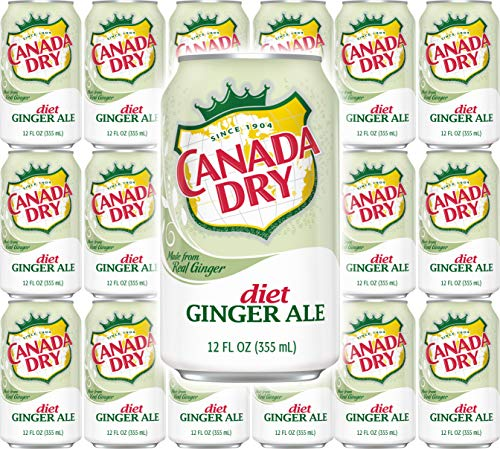 Canada Dry Diet Ginger Ale, 12oz Can (Pack of 18, Total of 216 Oz)