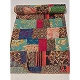 tribal asian textiles block print patch work kantha quilt kantha blanket bedspread patch kantha throw twin kantha kantha rallies indian quilt - Twin Quilts