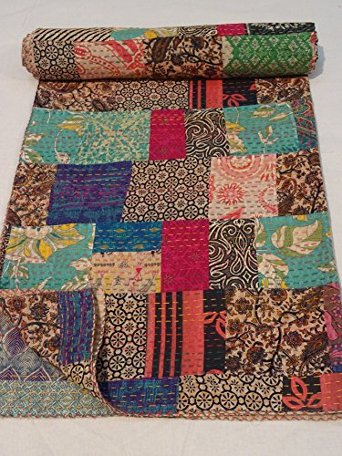 Tribal Asian Textiles Block Print Patch Work Kantha Quilt , Kantha Blanket Bedspread, Patch Kantha Throw, Queen Kantha, Kantha Rallies Indian Sari Qui…