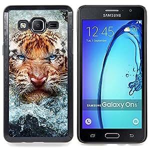 """Qstar Arte & diseño plástico duro Fundas Cover Cubre Hard Case Cover para Samsung Galaxy On5 O5 (Angry Tiger Cat agua Naturaleza Animal"""")"""