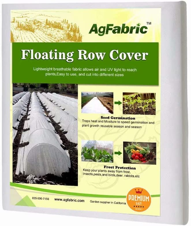 Agfabric Freeze Protection Floating Row Cover Winter Garden Rowing Covers 1.2oz Fabric of 5x25ft Frost Protection Plant Blanket