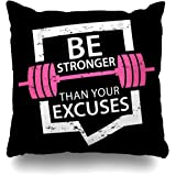 Throw Pillow Cover Tee Motivational Quote About Gym Fitness Fit Inspiratispirational Sports Recreation Cross Exercise Home Pillow Case Square Size 18 x 18 Inches Zippered Decor Pillowcase