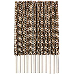 Rhinestone Bling Paper Sticks for Lollipop Cake Pop Apple Candy Buffet Treat Party Favor 6 inch (Coffee, 24)