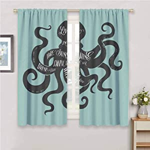 Octopus Thermal Insulating Blackout Curtain Kindergarten Noise Reduction Curtains W63x63L Live in The Sunshine Swim The Sea Drink The Wild Air Message Graphic Charcoal Grey Turquoise