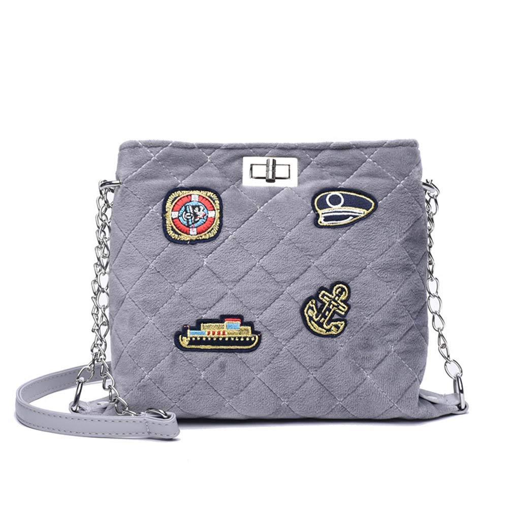 WngLei Tasche weiblich 2018 Winter Plüsch Tasche Plüsch Tasche Rhombische Kette Paket koreanische Version von Diagonal Paket (Farbe : Light grau)