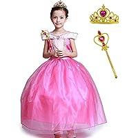 Flora Y Girls' Princess Aurora Costume Classical Stunning Sleeping Beauty Fancy Cosplay Ball Gown Long Dress