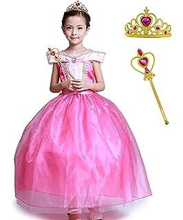 013c7a44ef6 Girls  Princess Aurora Costume Classical Stunning Sleeping Beauty Fancy  Cosplay Ball Gown Long Dress