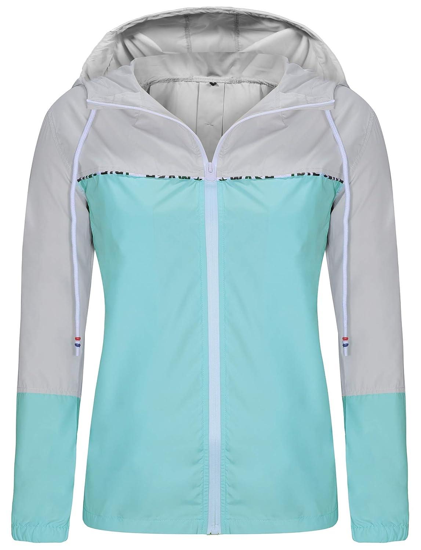 ZEGOLO Womens Raincoats Waterproof Packable Windbreaker Lightweight Active Outdoor Hooded Rain Jacket S-XXL