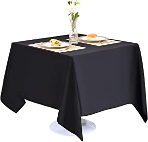 EVENTSDECO Square Tablecloth Black Polyester Table Cloth 200 GSM 52x52 Fabric Table Cloths for Banquet Buffet kitchen Dining and Party