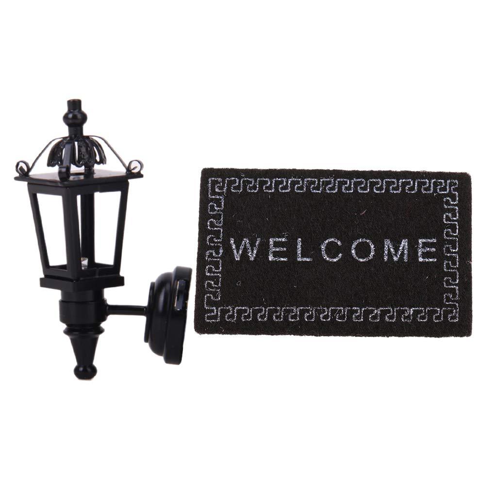 perfk 1/12 Lámpara de Pared + Estera de Bienvenido de Calidad para Casa de Muñecas 1:12