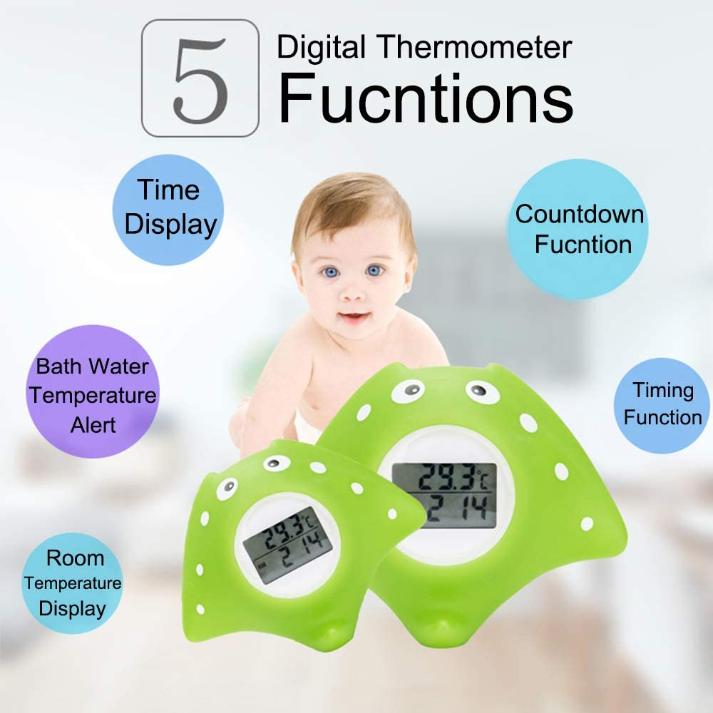 Term/ómetro de ba/ño para beb/és con alarma de advertencia LED estrella de mar term/ómetro digital para temperatura del agua del ba/ño