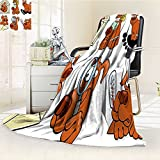 YOYI-HOME Soft Warm Cozy Throw Duplex Printed Blanket Dog Lover Dog Actions Beauty Salon Spa Smiling Cheerful Looking Magnifying Brown Black Yellow Anti-Static,2 Ply Thick,Hypoallergenic/W86.5'' x H59