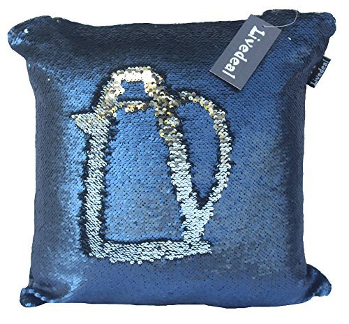 Small Navy Color (Livedeal Reversible Sequins Mermaid Pillow Cases 40*40cm Navy Blue and Silver )