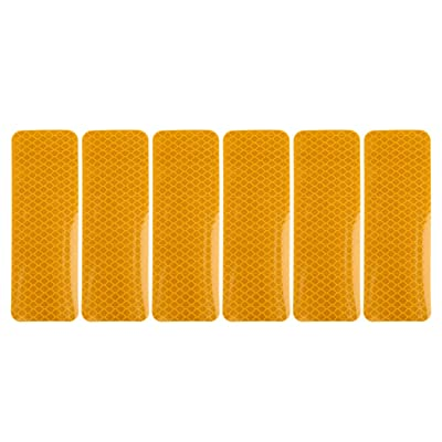 X AUTOHAUX 6pcs Automotive Reflective Stickers Night Visibility Safety Reflective Rear Bumper Tape Universal Adhesive for Car 12 x 4cm Gold Tone: Automotive