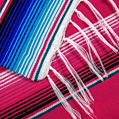 OurWarm 59 x 84 inch Mexican Blanket Tablecloth for Mexican Wedding Party Decorations, Large Square Cotton Mexican Serape Table Cloth by OurWarm (Image #4)