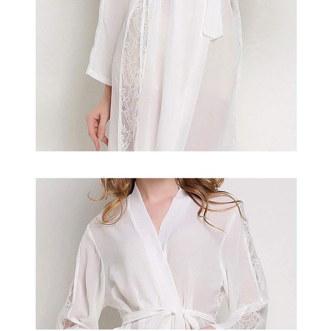 Señoras Gasa Largas Kimono Batas Manga Larga Fácil Albornoz Clásico Encaje Borde Noche Cálido Shea Nighty Pijama Mujeres (Color : Blanco, Size : One Size): ...