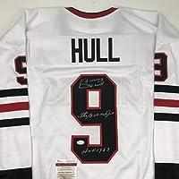 $114 » Autographed/Signed Bobby Hull The Golden Jet HOF 1983 Chicago White Hockey Jersey JSA COA