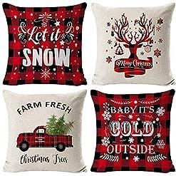 "Christmas Farmhouse Home Decor HAJACK Christmas Pillow Covers, 18×18"" Throw Pillow Cases Set of 4 for Christmas Decor, Red Plaid Truck & Farmhouse… farmhouse christmas pillow covers"