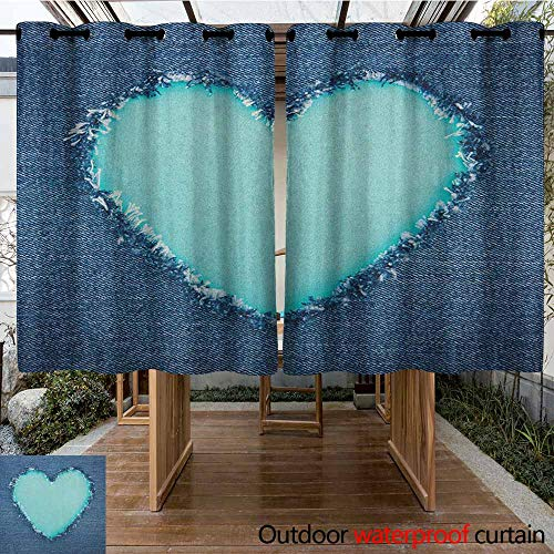 AndyTours Outdoor Window Curtains,Navy and Teal,Ripped Denim Jean Fabric Image Heart Shape Love Romance Valentines Day,Waterproof Patio Door Panel,K160C160 Navy Blue Seafoam