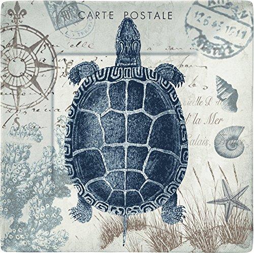 Merritt Seaside Postcard Sea Turtle 8-inch Square Melamine Plates, Set of - Merritt Square