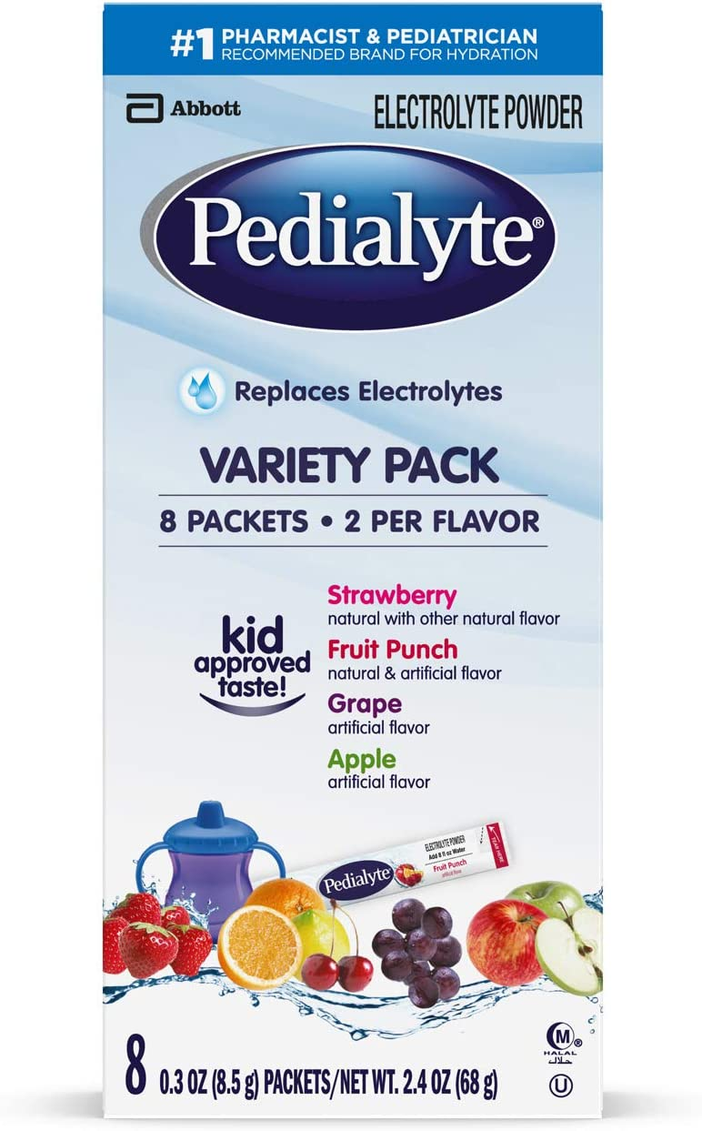 Pedialyte Electrolyte Powder, Variety Pack, Electrolyte Hydration Drink, 0.3 Oz Powder Packs, 8 Count