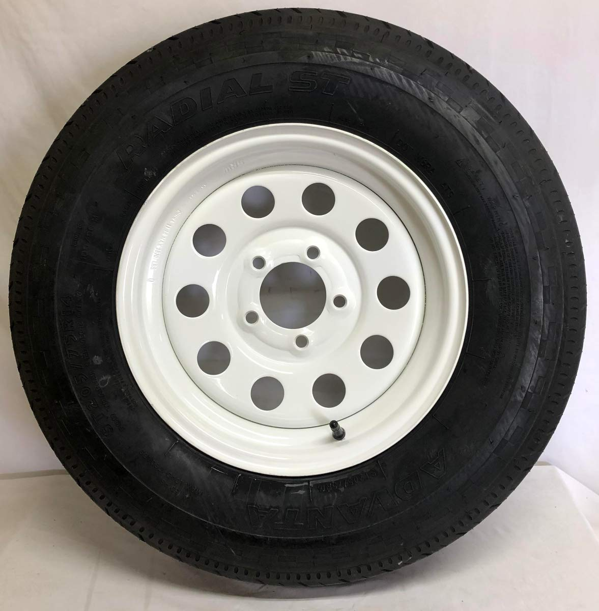 New 14'' White Mod Trailer Wheel with Radial ST205/75R14 Tire Mounted (5x4.5) bolt circle