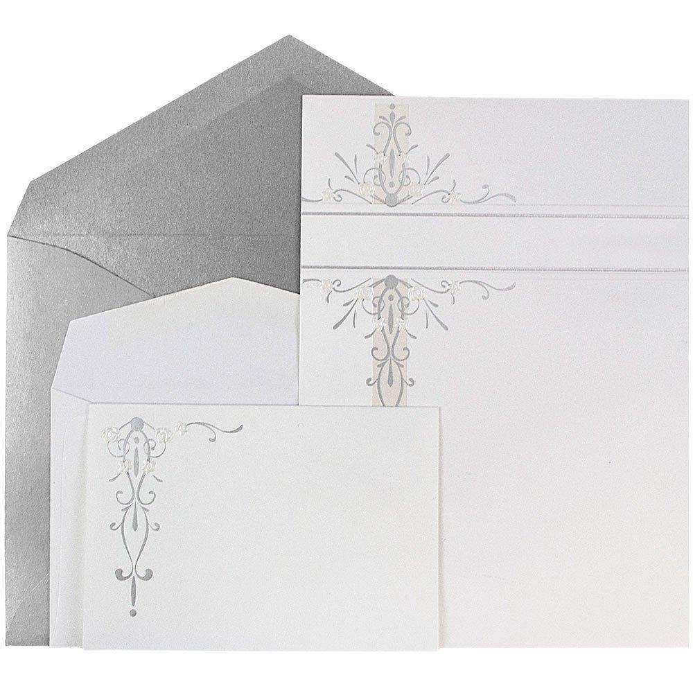JAM Paper® Wedding Invitation Combo Set - 1 Small & 1 Large Set - Ecru Gold Floral Cards with Gold Envelopes - 150/pack
