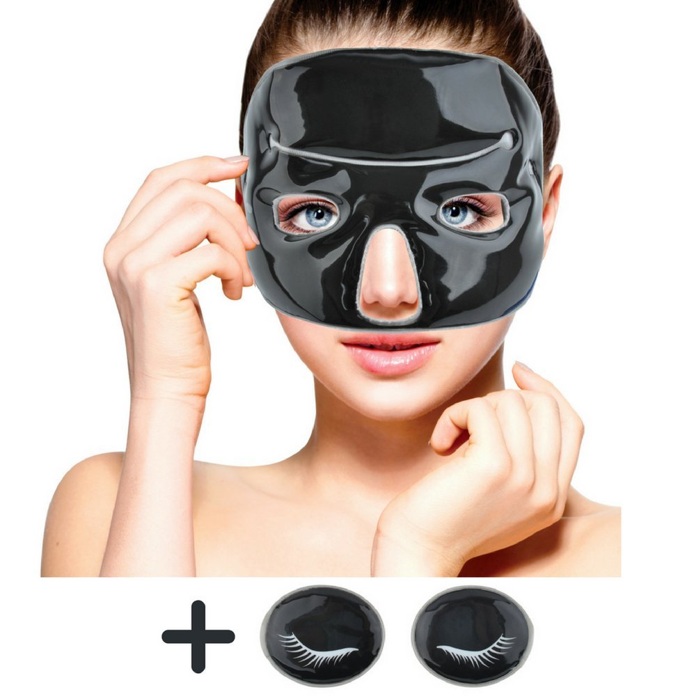 Cold Clay Facial Ice Mask by FOMI Care | Plus 2 Eye Compresses | Cooling Face Mask for Acne, Swollen Face, Puffy Eyes, Dark Circles, Headache, Migraine, Sinus Relief | Fabric Backing | Clay Filling by FOMI (Image #1)