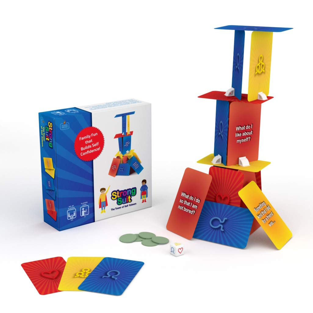 StrongSuit - The Tower of Self Esteem, Therapy Card Game For Kids 6+, Boost Self Confidence and Social Skills with Creativity, Problem Solving, Teamwork - Used by Therapists and Parents, 2-5 Players