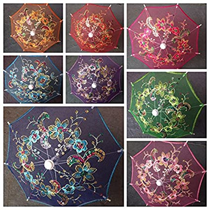 Amazon set of 12 tinysmall lace embroidered parasol umbrella set of 12 tinysmall lace embroidered parasol umbrella 8 inches only for junglespirit Image collections