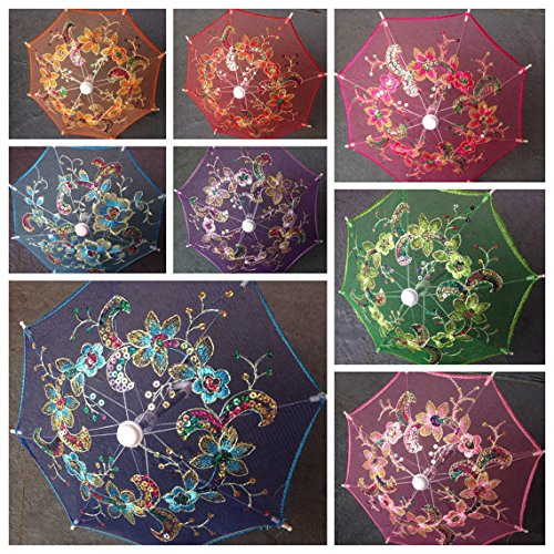 (Set of 12 Tiny/small Lace Embroidered Parasol Umbrella (8 Inches Only) for Wedding Party Decoration/ Table Setting / Wall Deco /8')