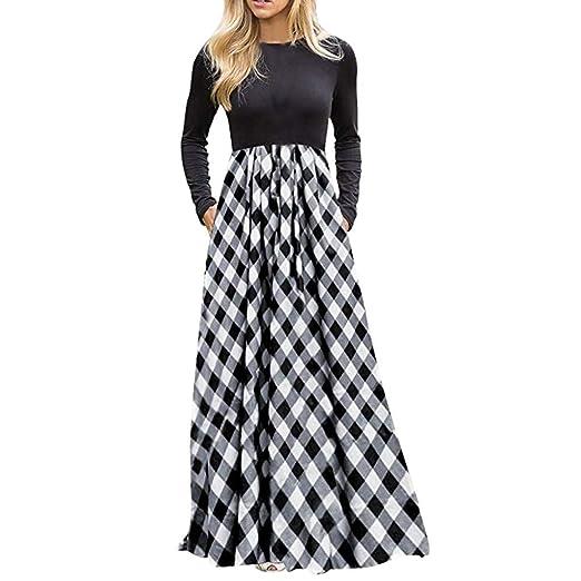 f80c6ea3b1 Women s Plaid Long Sleeve Empire Waist Full Length Maxi Dress with Pockets  Gray