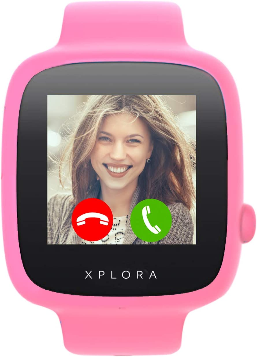 XPLORA Watch Phone for children SIM Free Calls Messages Kids School Mode SOS function GPS Location Camera and Pedometer Includes Year Warranty PINK