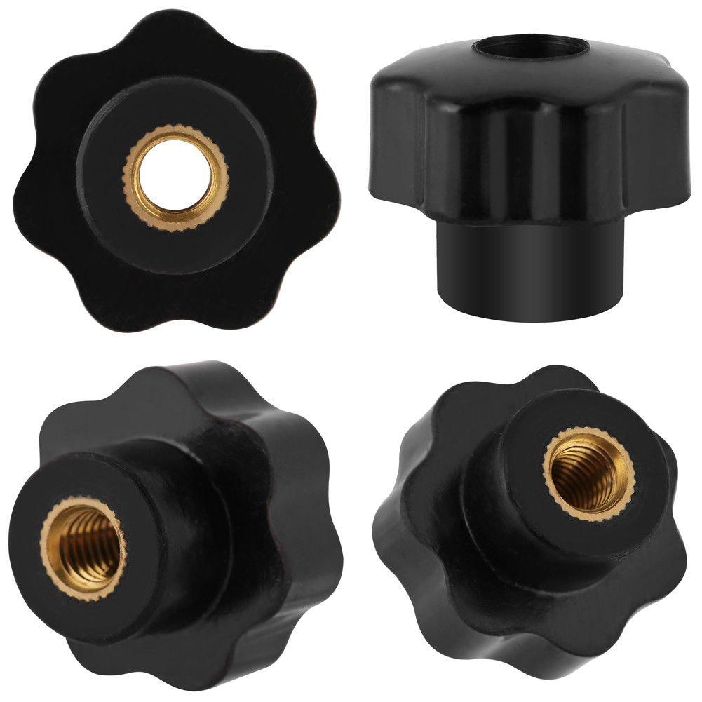 Quici paquete de 10/unidades M6/* 25/pl/ástico Head Universal m/áquina perilla rosca hembra tuercas negro piezas de repuesto
